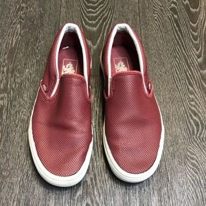 Vans Burgundy Perforated Slip On Shoes